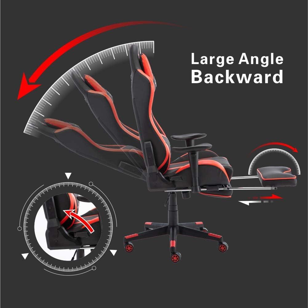Riproduci Haha con Schienale Alto e braccioli pi/ù Grandi Similpelle Bianco Stile Racing No footrest Sedia da Ufficio ergonomica