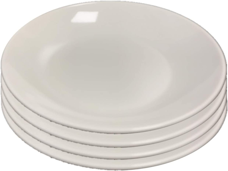 Set of 4 All For You Melamine Deep Dinner Plates White Everyday Use Dinner Dishes Set (8