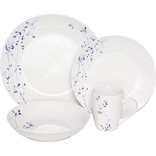 Melange Coupe 32 Piece Porcelain Dinnerware Set Indigo Garden Collection Service For 8 Microwave Dishwasher Oven Safe Dinner Plate Salad Plate Soup Bowl Mug 8 Each Industrial Scientific