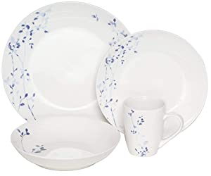 Melange Coupe 32 Piece Porcelain Dinnerware Set (Indigo Garden Collection) | Service for 8 | Microwave, Dishwasher & Oven Safe | Dinner Plate, Salad Plate, Soup Bowl & Mug(8 Each)