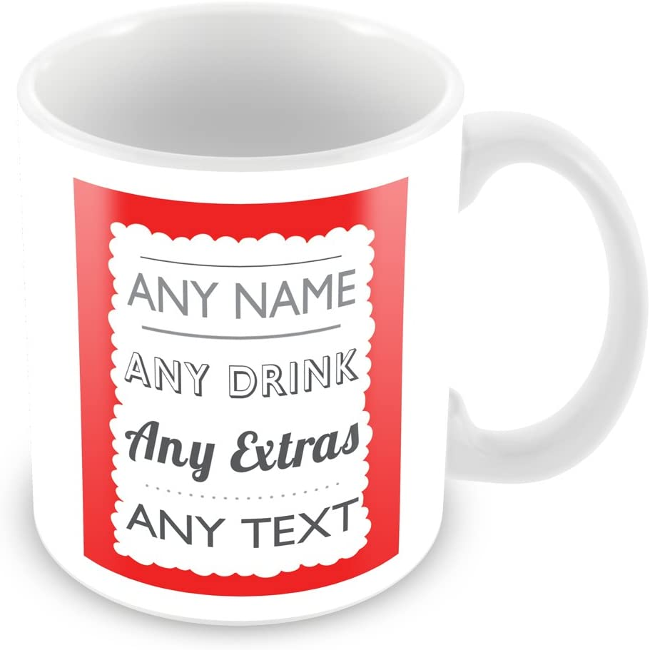 Customised Mug with Name (add ANY name, drink, message, text, photo, colour  etc) Personalised Gift - For Home / Office / Work - Red: Amazon.co.uk:  Kitchen & Home
