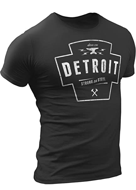 newest 5fda3 a797d Detroit Strong As Steel T-Shirt by Detroit Rebels | Vintage Mens Tshirt  Motor City