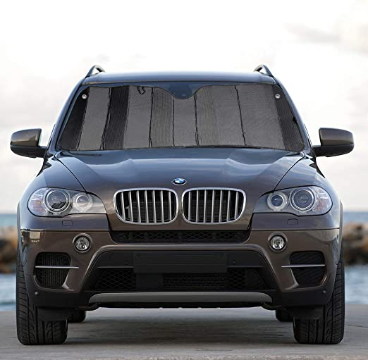 MCBUTY Car Windshield Sunshade Thicken 5-Layer UV Reflector Auto Front Window Sun Shade Visor Shield Cover,Keep Vehicle Cool Gary,55 /× 27.5