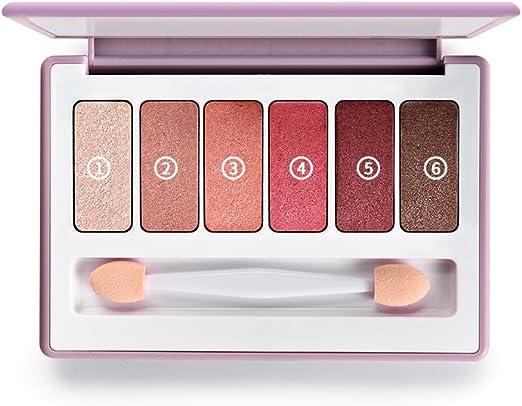 FT SM Paleta De Sombras De Ojos 6 Colores - Sombra De Ojos Para Principiantes Maquillaje De Ojos Maquillaje Para Ojos En Polvo Brocha Doble Para La Cabeza (Color : Red-brown): Amazon.es:
