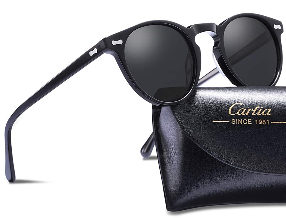 Carfia Vintage Polarized Sunglasses for Men, 100% UV400 Protection Acetate Frame New-Arrival Polarized UV Sunglasses for Driving Travel CA5357