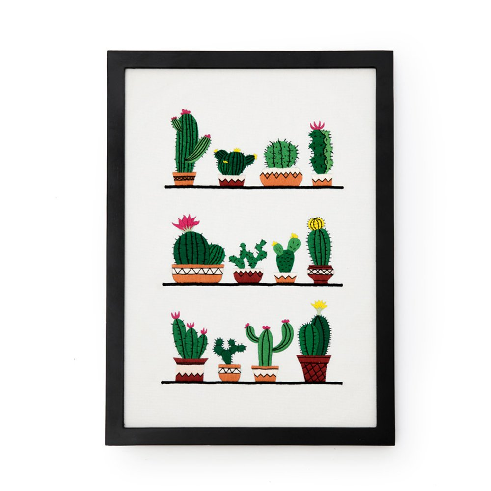 Cross Stitch Kits for Cactus - Eafior DIY Handmade Needlework Embroidery Kits Simple and Modern Cute Desert Plants Cactus Pattern Printed Design Home Decoration Wall Decor(Frameless)