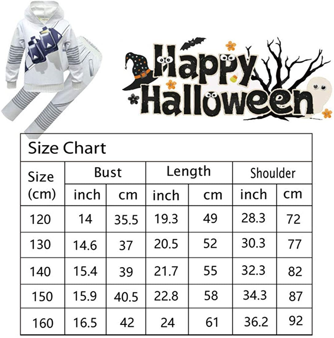 Ciafer Kids Halloween Cosplay Costume Hooded Sweatshirt Set for Boys Accessories 3Pcs