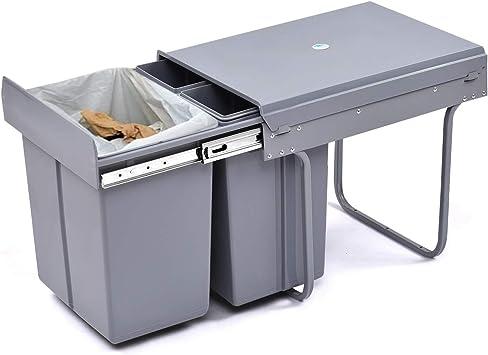 Poubelle Recyclage Tri Selectif 3 Bacs Encastrable Coulissante