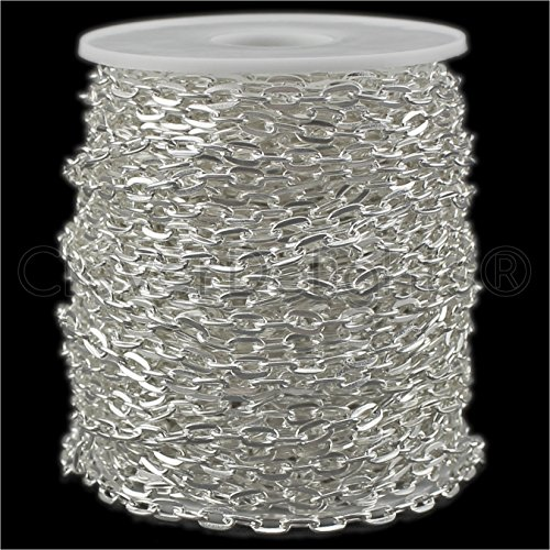 CleverDelights Cable Chain Spool - 30 Feet - Shiny Silver Color - 5x7mm Link - 10 Meters - Bulk Roll Silver 30' Cable