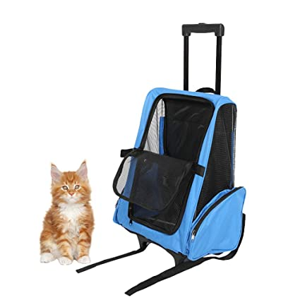 117e27ed8c8f Karmas Product Oxford Travel Backpack for Dogs and Cats Pet Carrier with Wheels  Airline Approved (