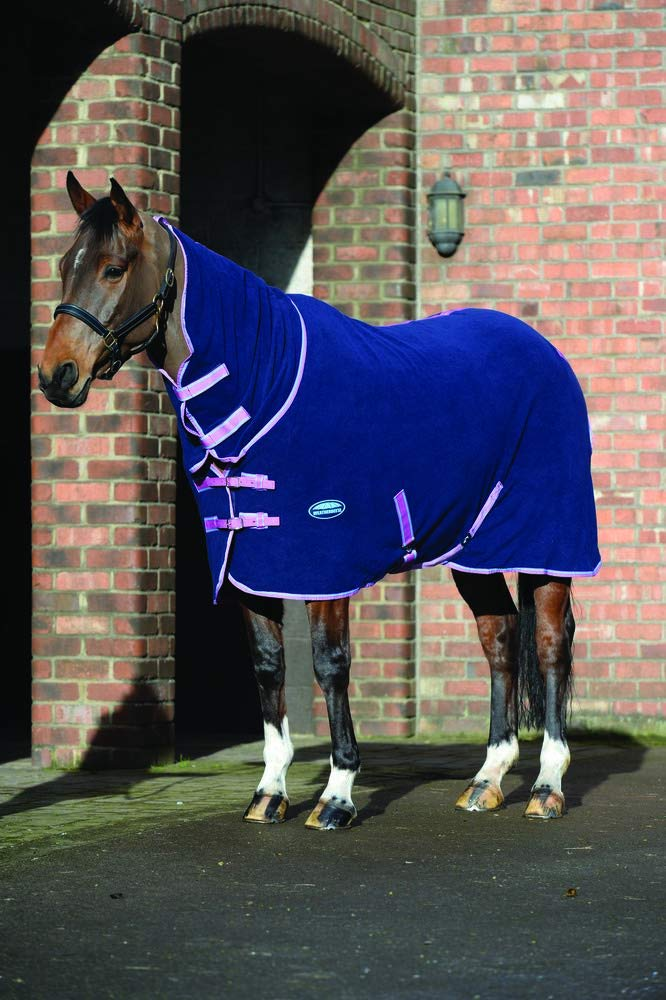 NAVY LIGHT blueE PURPLE 7'0 NAVY LIGHT blueE PURPLE 7'0 WEATHERBEETA Fleece Cooler Combo Neck Horse Rug