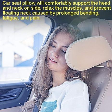 Auto Kopfstütze Wzto Autositz Nackenkissen Mit Lederbezug Verstellbarer Schiebestange Komfortabel Nackenkissen Kopfstütze Auto Für Erwachsene Und Kinder Koffer Rucksäcke Taschen