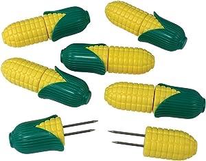R&M International Corn Cob Holders, 6 Interlocking Sets, Yellow/Green