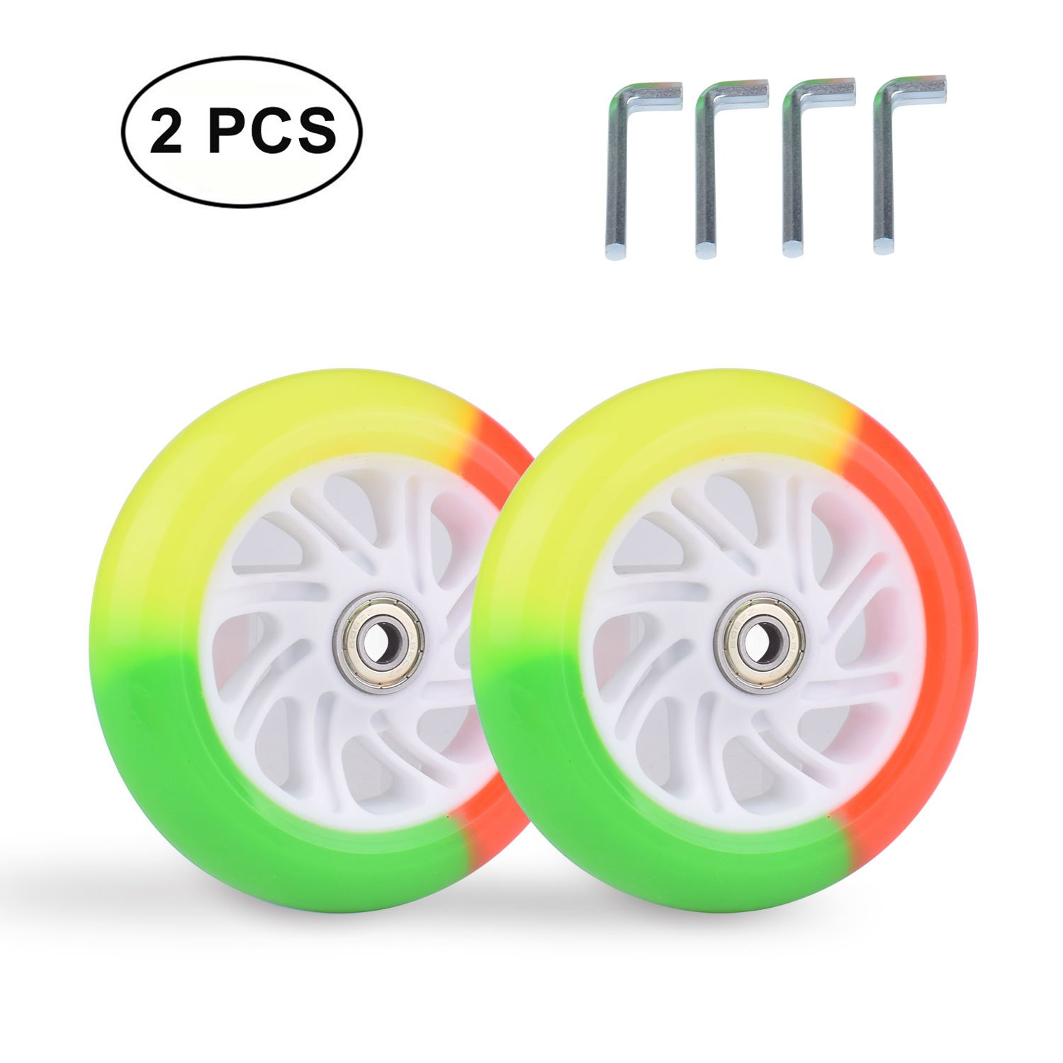 B.LeekS RollerbladeSkate Wheel Replacements, Kick Scooter Replacement Wheels with Bearings, One Set of (2) Wheels, Multiple Sizes & Colors with LED Illuminating Lights (Multicolor, 100mm)