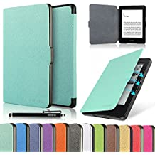 """HAOCOO Ultra Slim Leather Smart Case Cover Build in Magnetic [Auto Sleep/Wake] Function for All-New Amazon Kindle Paperwhite ( All-New 300 PPI Versions with 6"""" Display and Built-in Light) (Aqua)"""