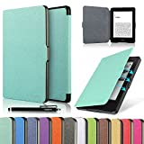 "Electronics : HAOCOO Ultra Slim Leather Smart Case Cover Build in Magnetic [Auto Sleep/Wake] Function for All-New Amazon Kindle Paperwhite ( All-New 300 PPI Versions with 6"" Display and Built-in Light) (Aqua)"