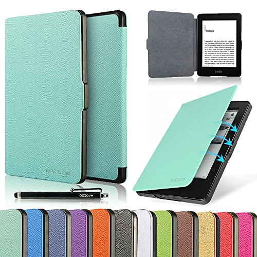 "HAOCOO Ultra Slim Leather Smart Case Cover Build in Magnetic [Auto Sleep/Wake] Function for All-New Amazon Kindle Paperwhite ( All-New 300 PPI Versions with 6"" Display and Built-in Light) (Aqua)"