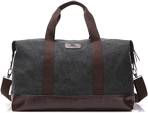 Classic Weekender Overnight Duffel Bag Canvas Leather Carry on Travel Tote Black