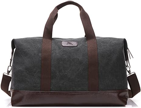 Carry on luggage Canvas and genuine leather travel bag with Monogram Weekender tote with initials Overnight tote Duffel bag