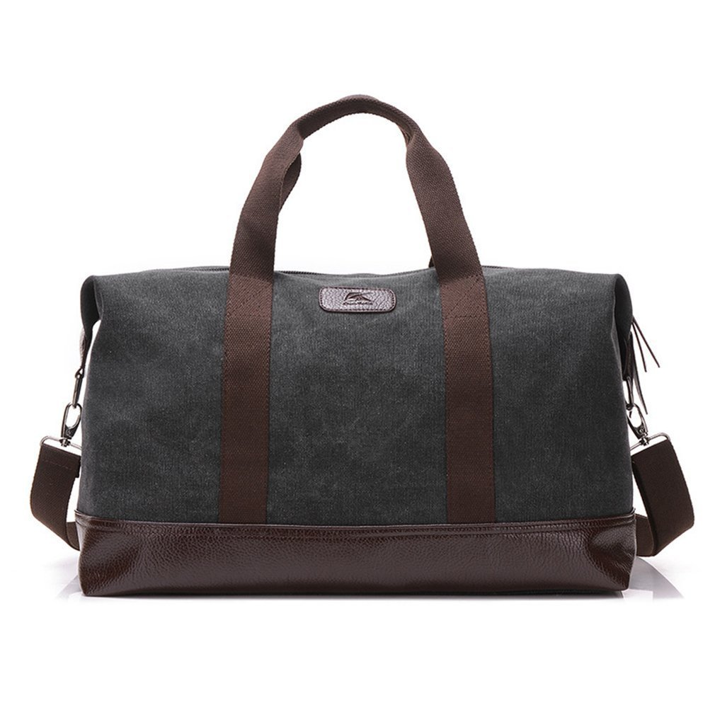 815a9afd1 Amazon.com | Classic Weekender Overnight Duffel Bag Canvas Leather Carry on  Travel Tote (Black) | Travel Duffels