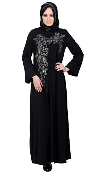 1af04c91b4a Front Open Accent Floral Motif Arabic Crystal Abayas  Amazon.co.uk  Clothing