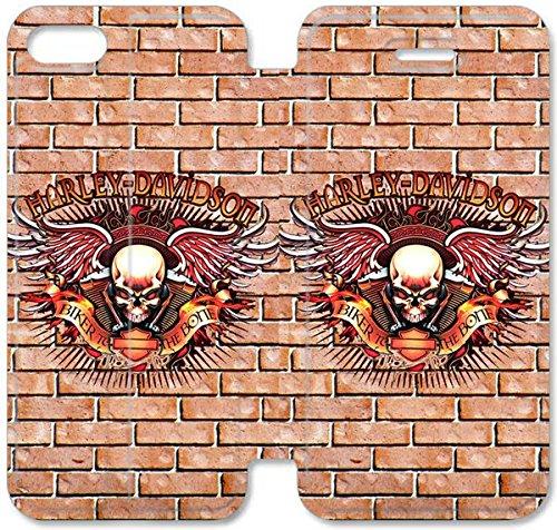 Flip étui en cuir PU Stand pour Coque iPhone 5 5S, bricolage 5 étui de téléphone cellulaire 5S étui en cuir Harley D 3 X0T2VU Coque iPhone Sport personnalisée
