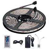 LED Light Strip Kit, Targher RGB LED Strip Waterproof SMD 5050 RGB 16.4Ft/5M 300 LEDs with 44Key Remote Controller and Power Supply for Holiday Party Outdoor Decoration