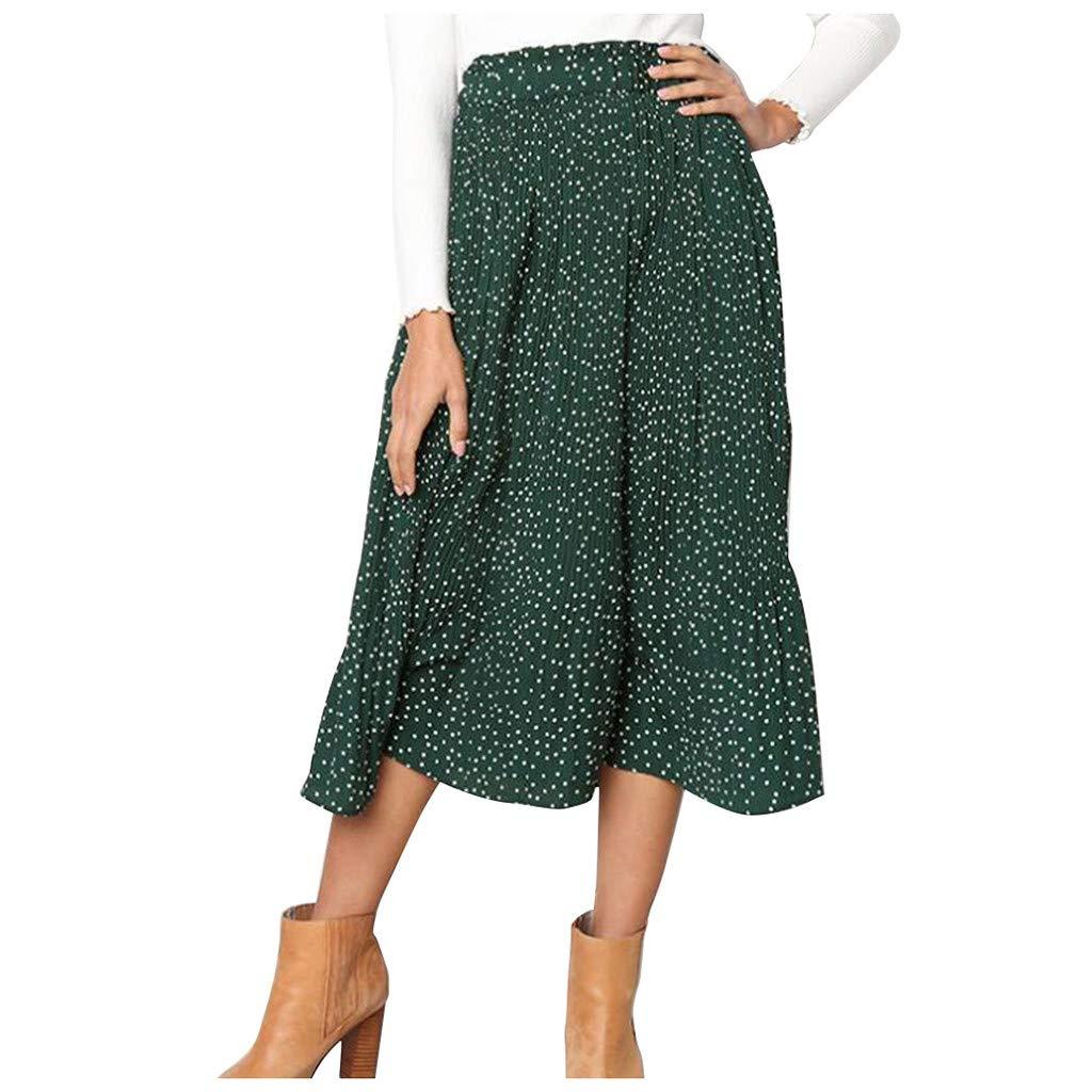 Mikilon Women's Fashion High Elastic Waist Polka Dot Printed Pleated Midi Vintage Skirts Green