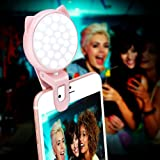 Clip On Selfie Light, OURRY Rechargeable Kitty Fill In Camera Ring Light Adjustable 32 LED 9 Light Effects 3-Level Brightness for iPhone X 8 7 6 6s Plus, Samsung Galaxy Note 8 S8 Plus S7 Edge and more
