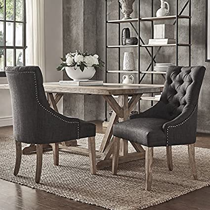 SIGNAL HILLS Benchwright Button Tufts Wingback Hostess Chairs (Set Of 2)  (Dark Grey