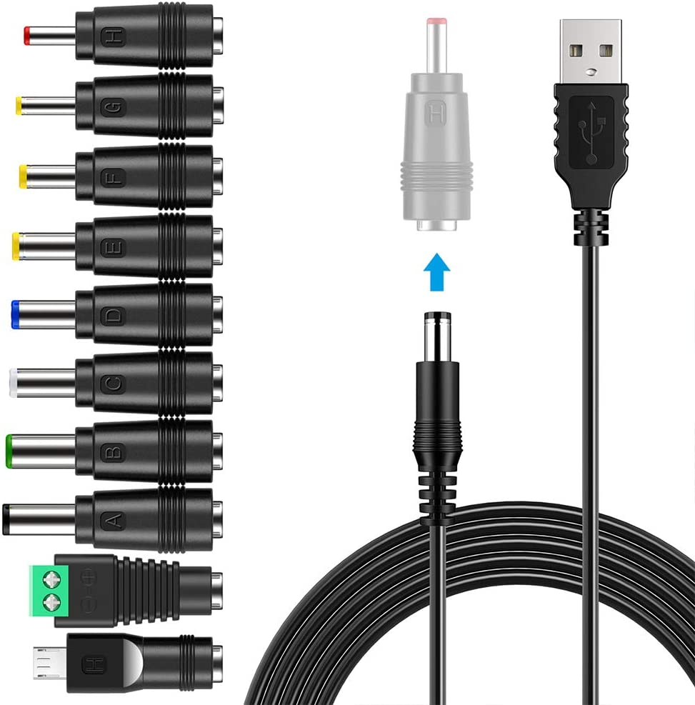USB to DC Power Cable,PChero 10 in 1 Universal USB to DC Jack Charging Cable Power Cord with 10 Interchangeable Plugs Connectors Adapter for Router IP-Camera Speaker and More Home Electronics Devices