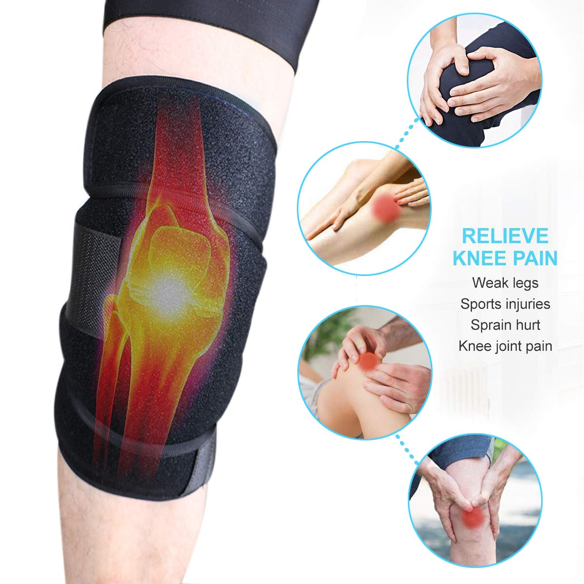Reusable Gel Ice Pack Wrap Knee Elbow Hot Cold Therapy Microwavable Heating Instant First Aid Support Brace Adjustable Compression Sleeve Pain Relief Sport Injurious Bursitis Rheumatoid Arthritis by DGYAO (Image #3)