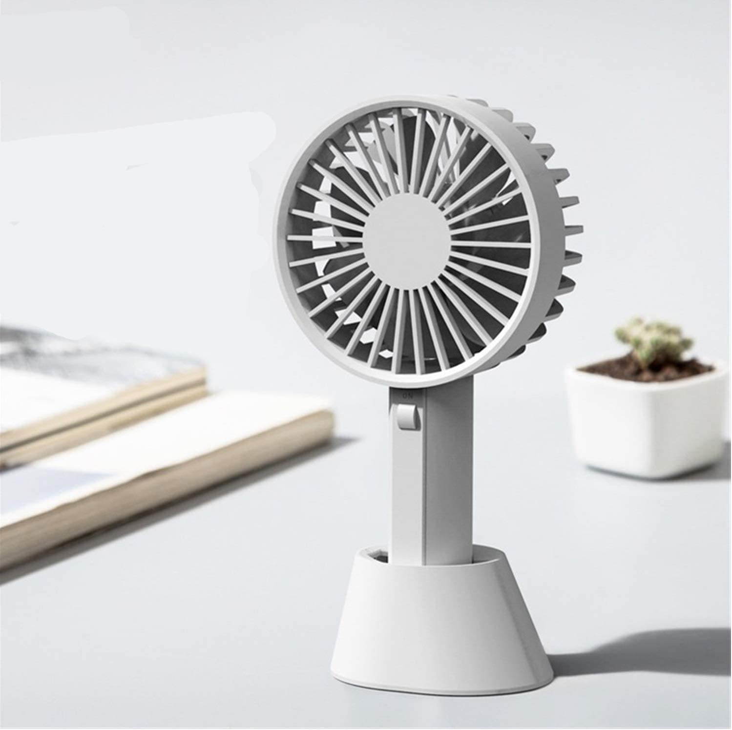 HAOXIONG-ZHANG Portable Handheld Fan Miniskirt Rechargeable Mute USB Table Fan Portable 7 Leaf Little Electric Fan Electric Fan Color : Grey