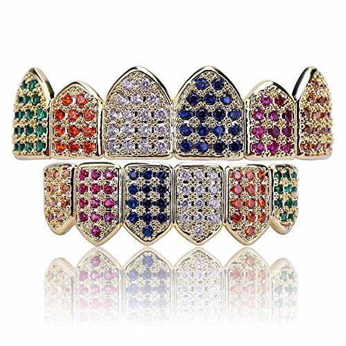 - JINAO 18K Gold Plated Macro Pave CZ Iced-Out Grillz with Extra Molding Bars Included (Rainbow Set)