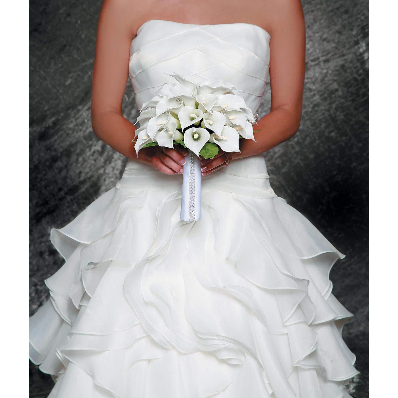 Darice Bulk Buy DIY David Tutera White Sat inch Bouquet Wrap with Rhinestones (3-Pack) DT4028