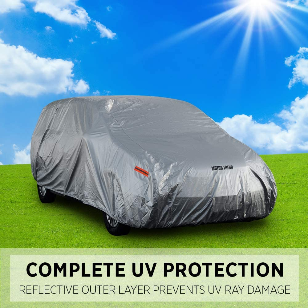 Cover Lock Included XXL - max Length 225 Heavy Duty Outdoor Fleece-Lined Sonic Coating Motor Trend TrueShield Waterproof SUV /& Van Cover Ultimate 6 Layer Protection
