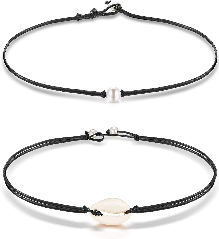 Gargantilla de perlas de 2 piezas, incluye una gargantilla de perlas y una gargantilla de perlas Gargantilla de perlas de cuero para mujeres Regalo para niñas