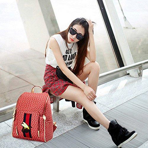 Mochila femenina para mujer Marea Femenina Del Bolso De Hombro 2017 Nueva Versión Coreana De La Personalidad Salvaje Del Viaje De La Manera Del Ocio De La Pu Impresa Mochila Femenina (24 * 10 * 31Cm)