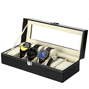 Expositor de relojes con cojines blandos de franela en caja de almacenamiento, negro, 6 compartimentos: Amazon.es: Hogar