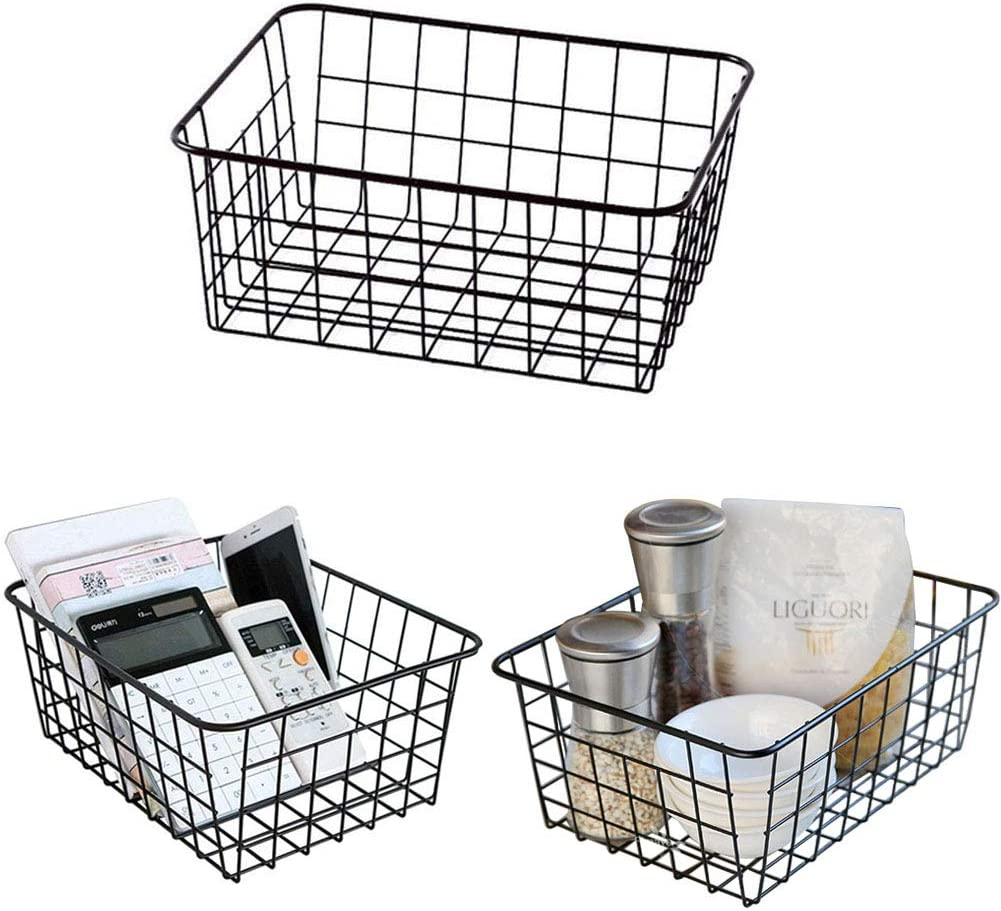 "Metal Wire Food Storage Organizer Bin Basket with Handles for Kitchen Cabinets, Pantry, Bathroom- 11"" x 8.6"" x 4.5"" - 3 Pack - Black"