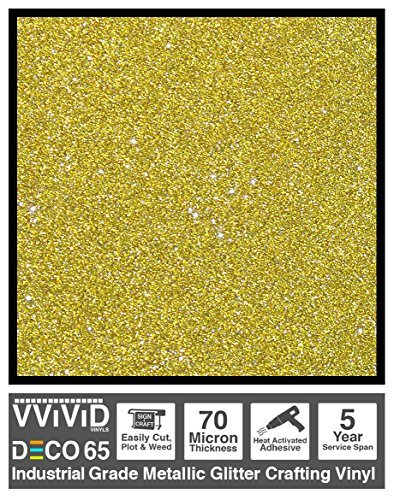 (VViViD DECO65 Gold Flake Metallic Glitter Adhesive Vinyl 6ft x 1ft Craft Roll for Cricut, Silhouette & Cameo Plotting)