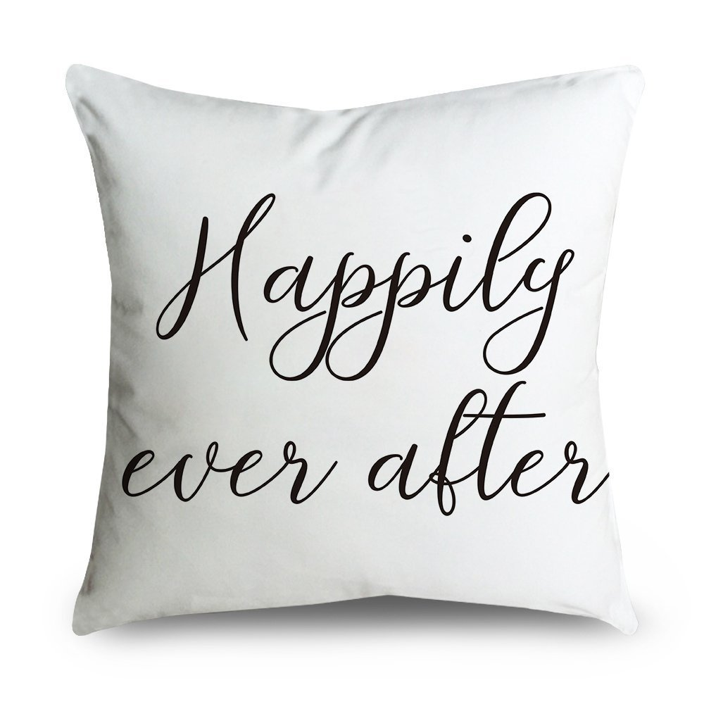 FabricMCC Throw Pillow Cover 18 Inch Quote Words Square Decorative Canvas Cushion Cover Throw Pillowcase for Couch (happily)