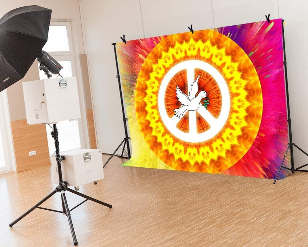 6x4ft Vinyl Peace Sign Backgrounds for Party 70S Hippies Backgrounds for Theme Activities Decorations Photography Board Photo Studio Booth Props BJQQLY005 for Party Decoration Birthday YouTube Videos