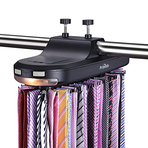 Primode Motorized Tie Rack with LED Lights - Closet Organizer, Stores & Displays Up to 64 Ties Or Belts, Rotation operates with Batteries. Great Gift Idea (Black) (Best Motorized Tie Rack)