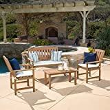 wood patio furniture Great Deal Furniture 296508 Shirley 4-Piece Outdoor Wood Chat Set with Cushions
