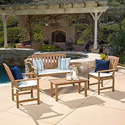 "Great Deal Furniture 296508 Shirley 4-Piece Outdoor Wood Chat Set with Cushions - Chair: 26.75""D x 23.50""W x 36""H - Loveseat: 26.75""D x 47.25""W x 36""H - Table: 17.75""D x 35.50""W x 17""H Two (2) chairs, one (1) loveseat, one (1) table Constructed of wood, Cushions made of weather resistant polyester fabric - patio-furniture, patio, conversation-sets - 61qtggaXWYL. SS400  -"