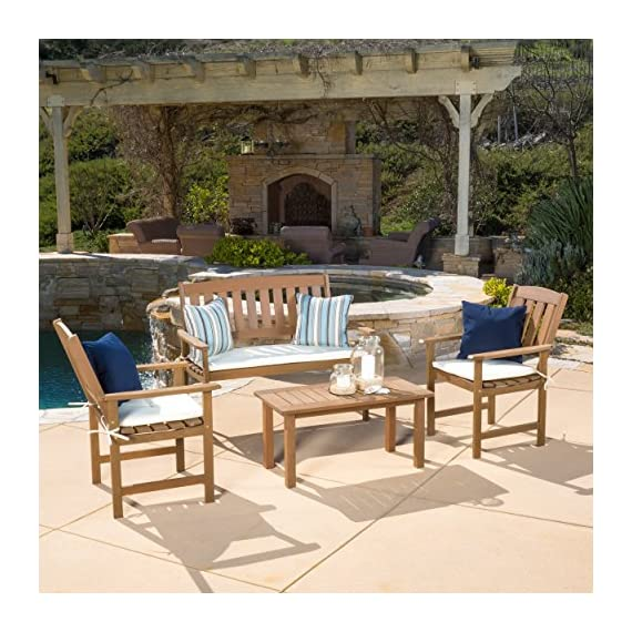 "Great Deal Furniture 296508 Shirley 4-Piece Outdoor Wood Chat Set with Cushions - Chair: 26.75""D x 23.50""W x 36""H - Loveseat: 26.75""D x 47.25""W x 36""H - Table: 17.75""D x 35.50""W x 17""H Two (2) chairs, one (1) loveseat, one (1) table Constructed of wood, Cushions made of weather resistant polyester fabric - patio-furniture, patio, conversation-sets - 61qtggaXWYL. SS570  -"