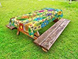 Lunarable Board Game Outdoor Tablecloth, Various Kinds of Animals Bee Butterfly Ant Ladybug Kids Theme Spring Meadow, Decorative Washable Picnic Table Cloth, 58 X 84 inches, Multicolor