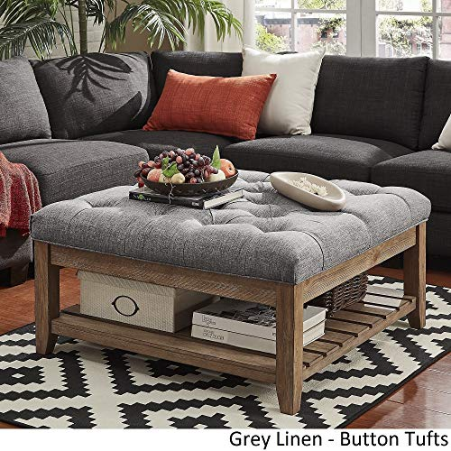 Inspire Q Lennon Pine Planked Storage Ottoman Coffee Table by Artisan Grey [Grey Linen]- Button - Button Ottoman Tuft