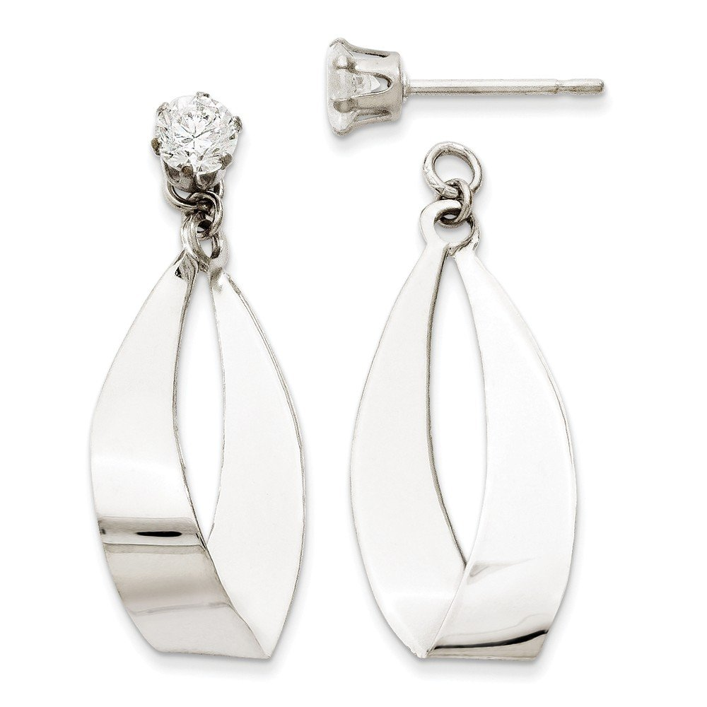 14kt White Gold Polished Oval Dangle with CZ Stud Earring Jackets by Perfume4All